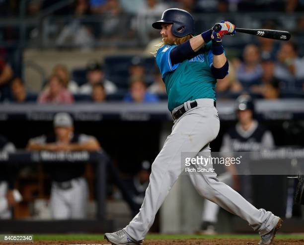 Taylor Motter of the Seattle Mariners in action during a game against the New York Yankees at Yankee Stadium on August 25 2017 in the Bronx borough...