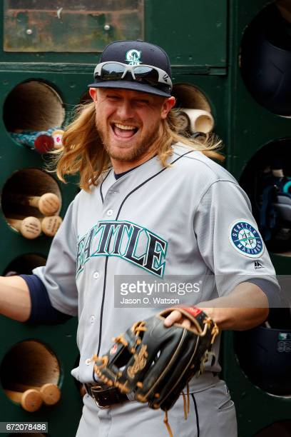 Taylor Motter of the Seattle Mariners stands in the dugout before the game against the Oakland Athletics at the Oakland Coliseum on April 22 2017 in...