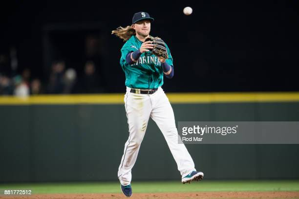 Taylor Motter of the Seattle Mariners throws to first during the game against the Texas Rangers at Safeco Field on Friday April 14 2017 in Seattle...