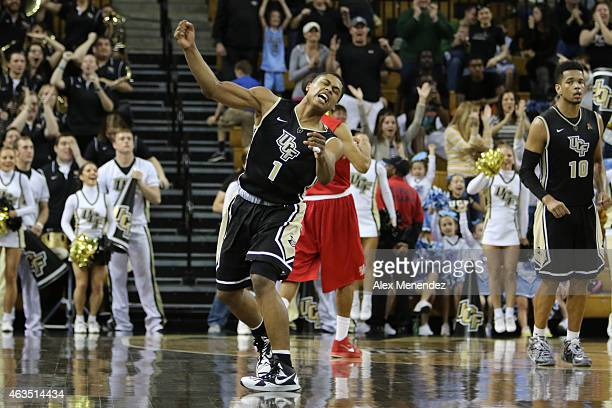 Taylor of the UCF Knights celebrates after hitting the game winning shot during an NCAA basketball game against the Houston Cougars at the CFE Arena...