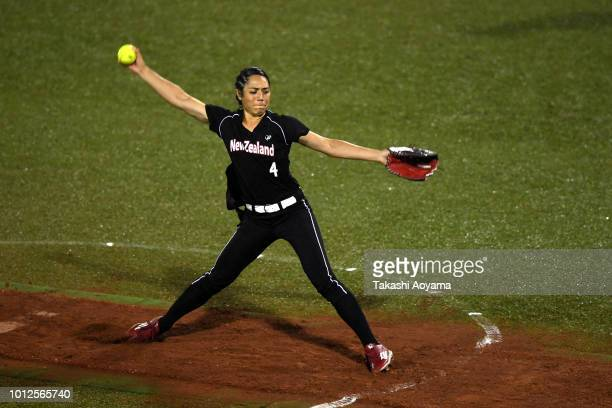 Taylor Paige Stewart of New Zealand pitches against Mexico during their Preliminary Round match at ZettA Ball Park on day six of the WBSC Women's...