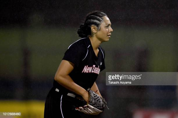 Taylor Paige Stewart of New Zealand pitchs against Mexico during their Preliminary Round match at ZettA Ball Park on day six of the WBSC Women's...