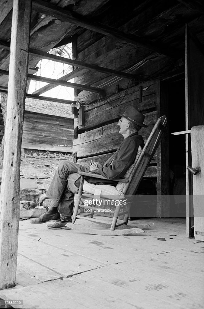 Taylor Parris sitting in his homemade rocking chair on the : News Photo