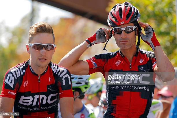 Taylor Phinney and George Hincapie of BMC Racing prepare for the start of stage six of the USA Pro Challenge from Golden to Boulder on August 25 2012...