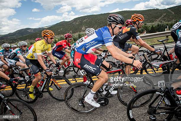 Taylor Phinney of the BMC Pro Team rides in the fan favorite jersey The Tour of Utah on August 8 2015 in Salt Lake City Utah