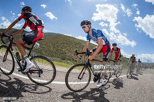 Taylor Phinney of the BMC Pro Team riding in the peloton during stage 6 of the Tour of Utah on August 8 2015 in Salt Lake City Utah