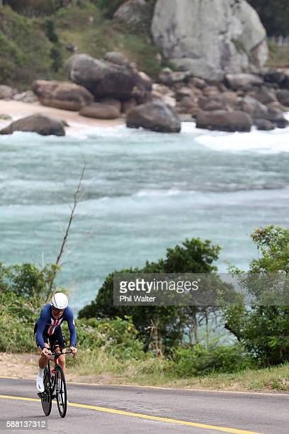 Taylor Phinney of the United States competes in the Cycling Road Men's Individual Time Trial on Day 5 of the Rio 2016 Olympic Games at Pontal on...