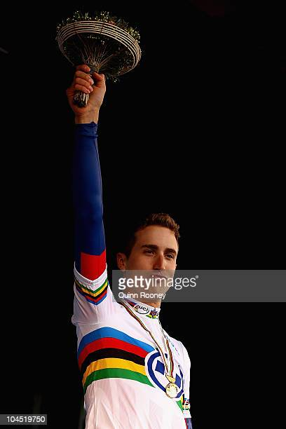 Taylor Phinney of the United States of America celebrates on the podium after winning the Men's Under 23 Time Trial on day one of the UCI Road World...