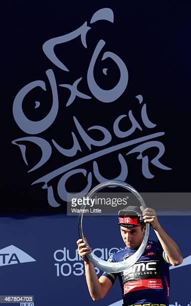 Taylor Phinney of the USA and BMC Racing Team celebrates winning the 2014 Dubai Tour on February 8 2014 in Dubai United Arab Emirates