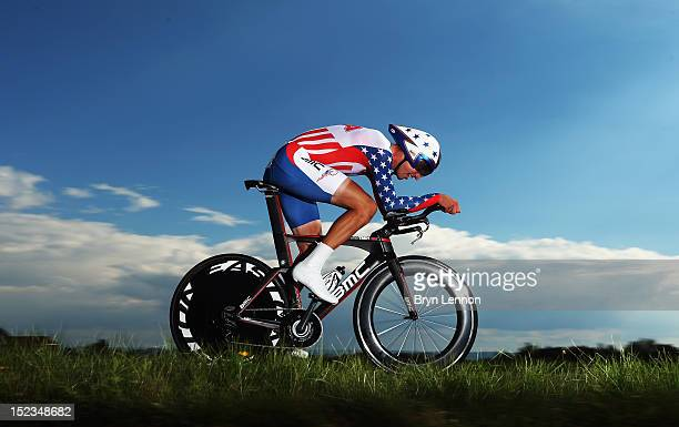 Taylor Phinney of the USA in action on his way to 2nd place in the Elite Men's Time Trial on day four of the UCI Road World Championships on...