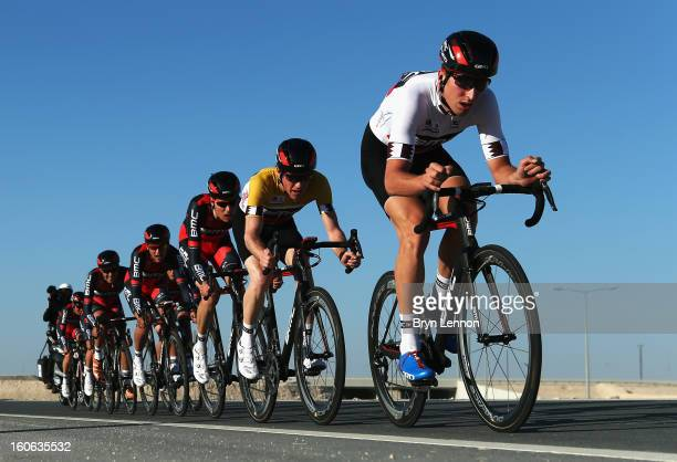 Taylor Phinney of the USA leads race leader Brent Bookwalter of the USA and their BMC Racing Team on stage two of the 2013 Tour of Qatar, a 14km Team...