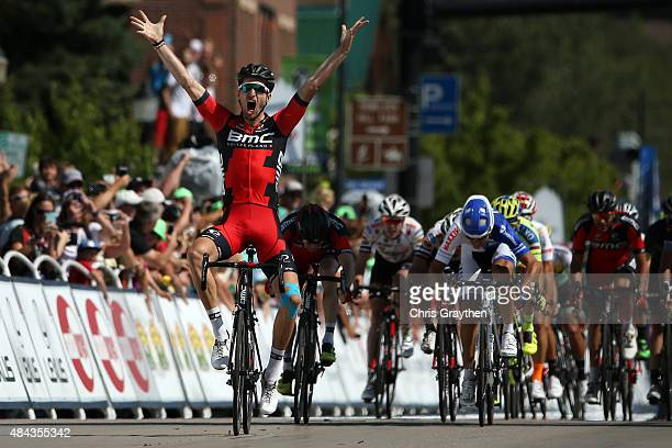 Taylor Phinney of United States riding for BMC Racing crosses the finish line to win Stage One of the 2015 USA Pro Cycling Challenge on August 17...