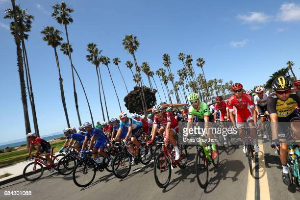 Taylor Phinney of United States riding for CannondaleDrapac Pro Cycling rides in the peloton during stage four of the AMGEN Tour of California from...