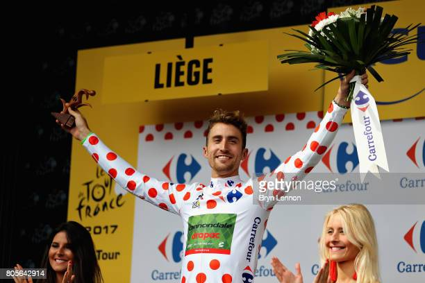 Taylor Phinney of USA and Cannondale Drapac Professional Cycling Team celebrates with the polka dot King of the Mountains jersey on the podium during...