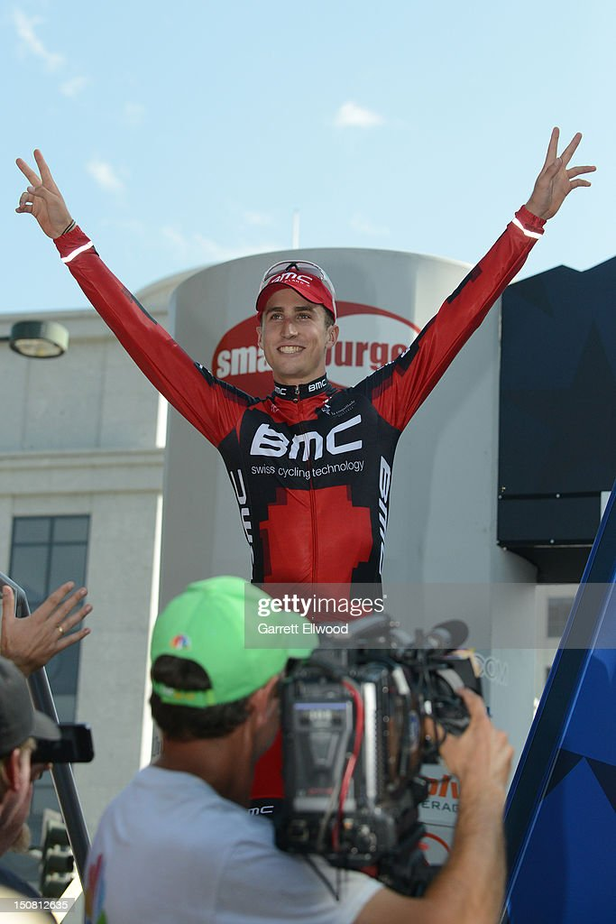 Taylor Phinney riding for BMC Racing salutes the crowd after winning the individual time trial during stage seven of the USA Pro Challenge on August 26, 2012 in Denver, Colorado.