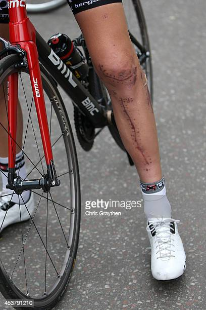 Taylor Phinney stands near the BMC Racing Team bus during stage one of the 2014 USA Pro Challenge on August 18 2014 in Aspen Colorado