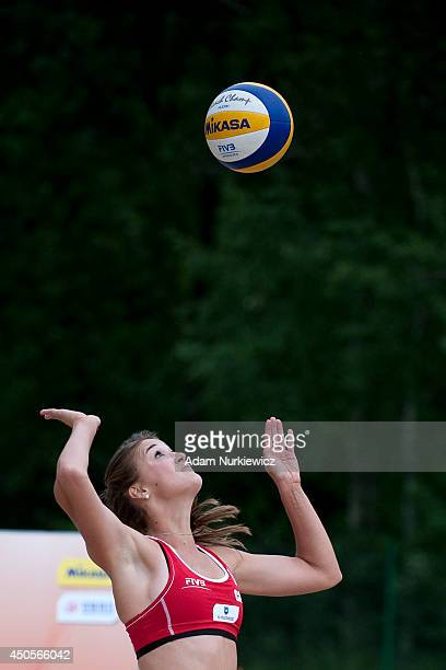 Taylor Pischke from Canada in action during FIVB Under 23 World Championships on June 13, 2014 in Myslowice, Poland.