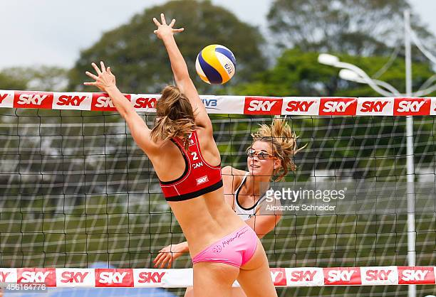 Taylor Pischke of Canada and Jantine van der Vlist of Netherlands compete in the main draw match against United States at Jose Correa Gymnasium...