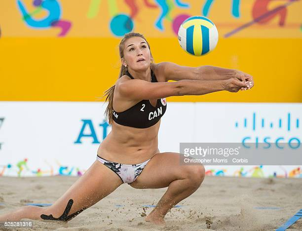 Taylor Pischke of Canada during the the preliminary rounds of beach volleyball competition at the 2015 PanAm Games in Toronto.