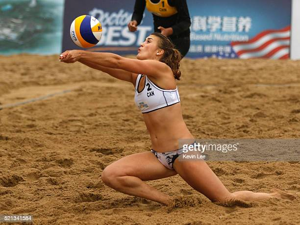 Taylor Pischke of Canada in action at the FIVB Beach Volleyball World Tour Xiamen 2016 on April 15, 2016 in Xiamen, China.