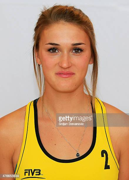 Taylor Pischke of Canada poses for a portrait during the FIVB Prague Open Headshot Shoot on May 20, 2015 in Prague, Czech Republic.