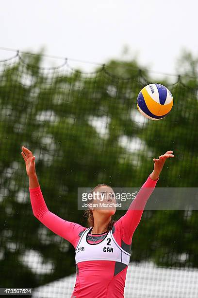Taylor Pischke of Canada serves during Day 4 of the FIVB Lucerne Open on May 15, 2015 in Lucerne, Switzerland.