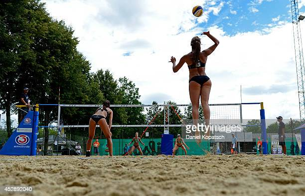 Taylor Pischke of Canada serves during the FIVB Klagenfurt A1 Grand Slam Qualification match between the United States and Canada on July 29, 2014 in...