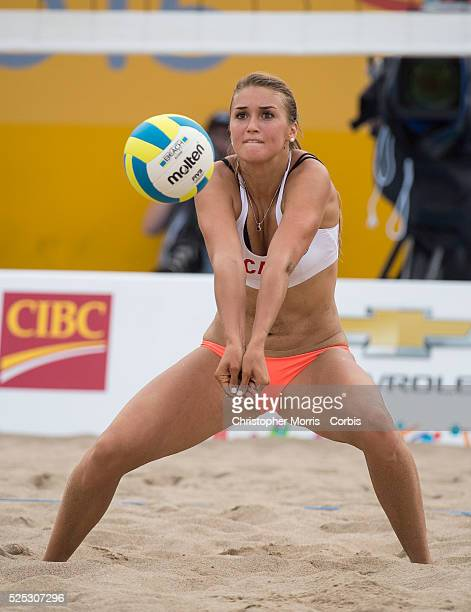 Taylor Pischke of Canada vs. Cuba in beach volleyball competition at the 2015 PanAm Games in Toronto.