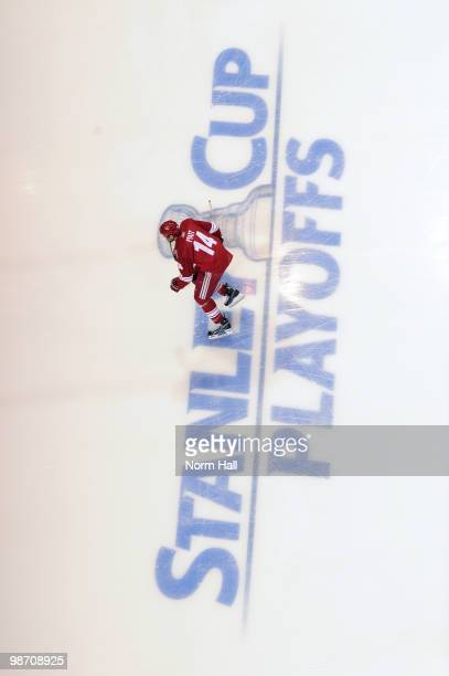 Taylor Pyatt of the Phoenix Coyotes warms up prior to taking on the Detroit Red Wings in Game Seven of the Western Conference Quarterfinals during...