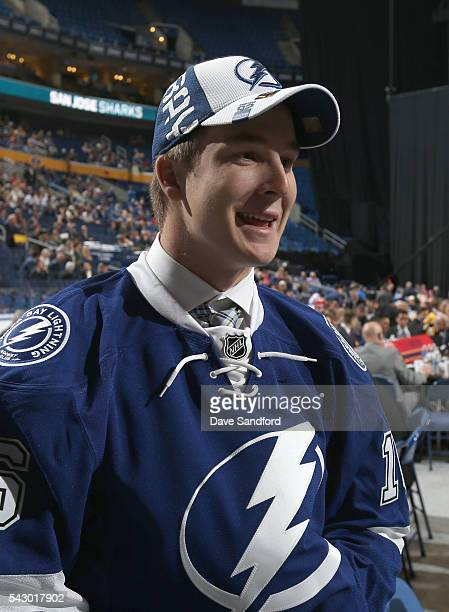 Taylor Raddysh looks on from the draft floor after being selected 58th overall by the Tampa Bay Lightning during the 2016 NHL Draft at First Niagara...