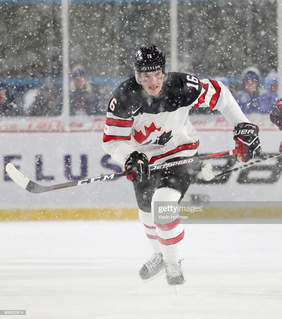 Taylor Raddysh #16 of Canada during the IIHF World Junior Championship at New Era Field against the United States on December 29, 2017 in Buffalo, New York. The United States beat Canada 4-3.
