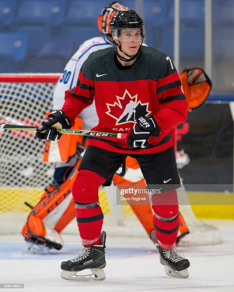Taylor Raddysh #7 of Canada follows the play against Finland during a World Jr. Summer Showcase game at USA Hockey Arena on August 2, 2017 in Plymouth, Michigan. The Canada defeated Finland 6-5 in O.T. (Photo by Dave Reginek/Getty Images) Taylor Raddysh