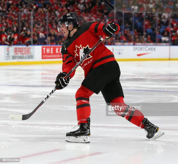 Taylor Raddysh of Canada in play against Sweden during the Gold medal game of the IIHF World Junior Championship at KeyBank Center on January 5 2018...