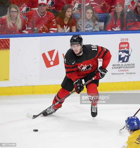 Taylor Raddysh of Canada skates the puck against Sweden during the second period of play in the IIHF World Junior Championships Gold Medal game at...