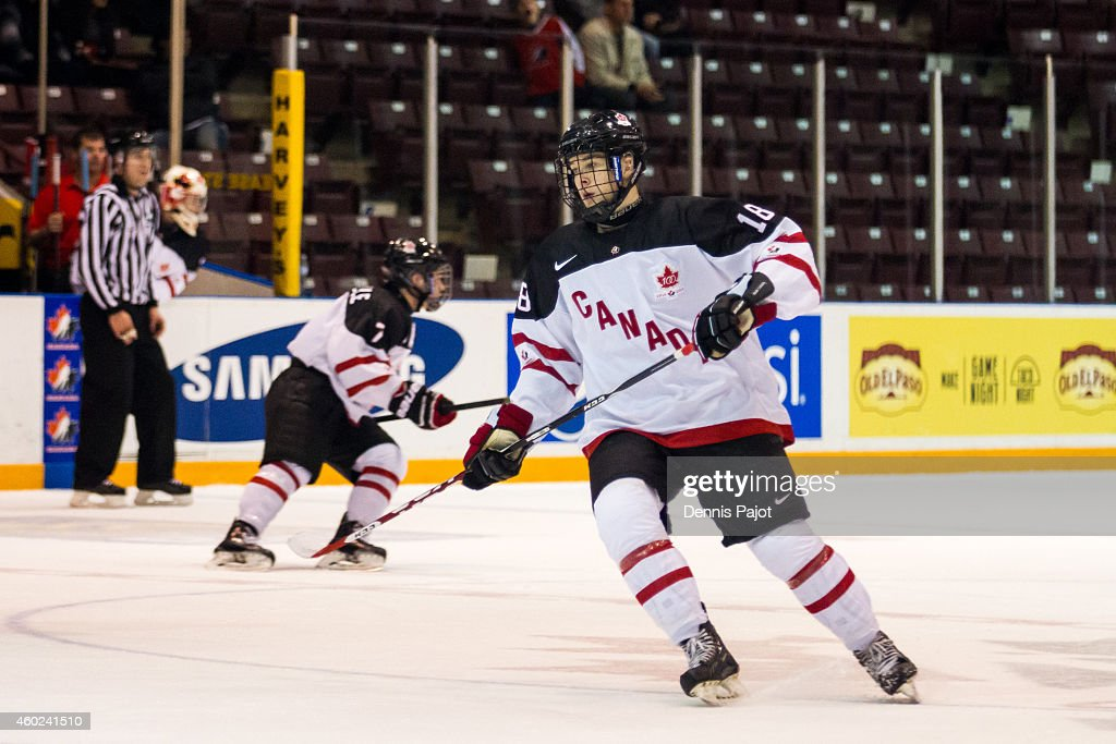 Taylor Raddysh #18 of Canada White skates against Finland during the World Under-17 Hockey Challenge on November 2, 2014 at the RBC Centre in Sarnia, Ontario.