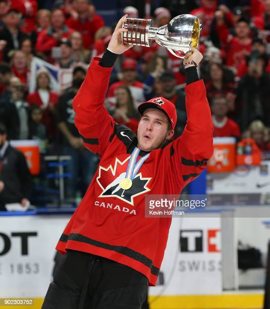Taylor Raddysh of Canada with the tournament trophy after winning against Sweden during the Gold medal game of the IIHF World Junior Championship at...