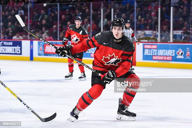 Taylor Raddysh of Team Canada calls for the puck during the IIHF exhibition game against Team Finland at the Bell Centre on December 19 2016 in...