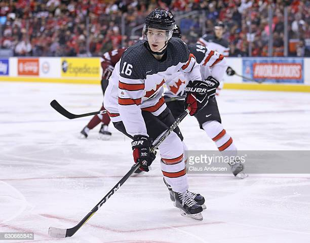 Taylor Raddysh of Team Canada skates against Team Latvia during a preliminary game in the 2017 IIHF World Junior Hockey Championships at the Air...