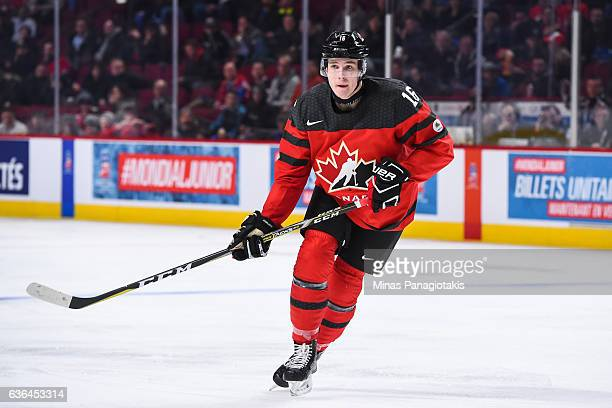 Taylor Raddysh of Team Canada skates during the IIHF exhibition game against Team Finland at the Bell Centre on December 19 2016 in Montreal Quebec...