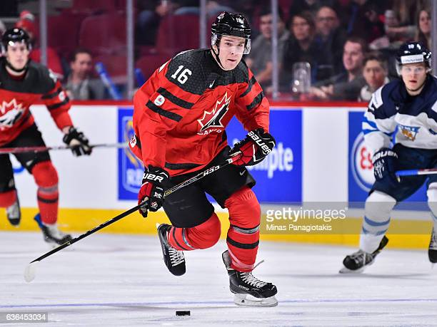 Taylor Raddysh of Team Canada skates the puck during the IIHF exhibition game against Team Finland at the Bell Centre on December 19 2016 in Montreal...
