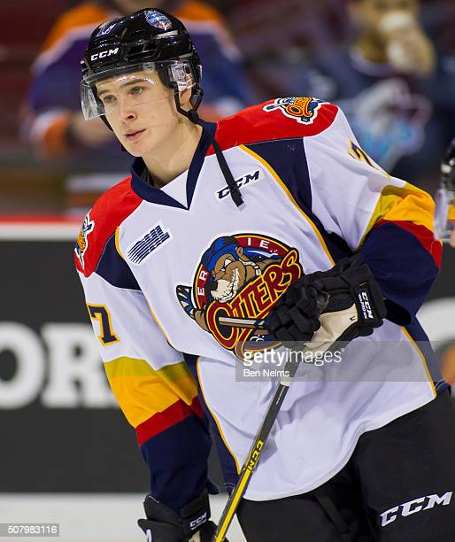 Taylor Raddysh of Team Orr is pictured during warm ups prior to facing Team Cherry in the CHL/NHL Top Prospects game at the Pacific Coliseum on...