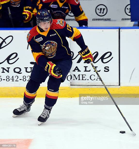 Taylor Raddysh of the Erie Otters controls the puck against the Mississauga Steelheads during OHL game action on November 27 2015 at the Hershey...