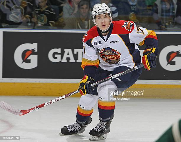 Taylor Raddysh of the Erie Otters skates against the London Knights during Game Four of the OHL Western Conference Semifinal at Budweiser Gardens on...