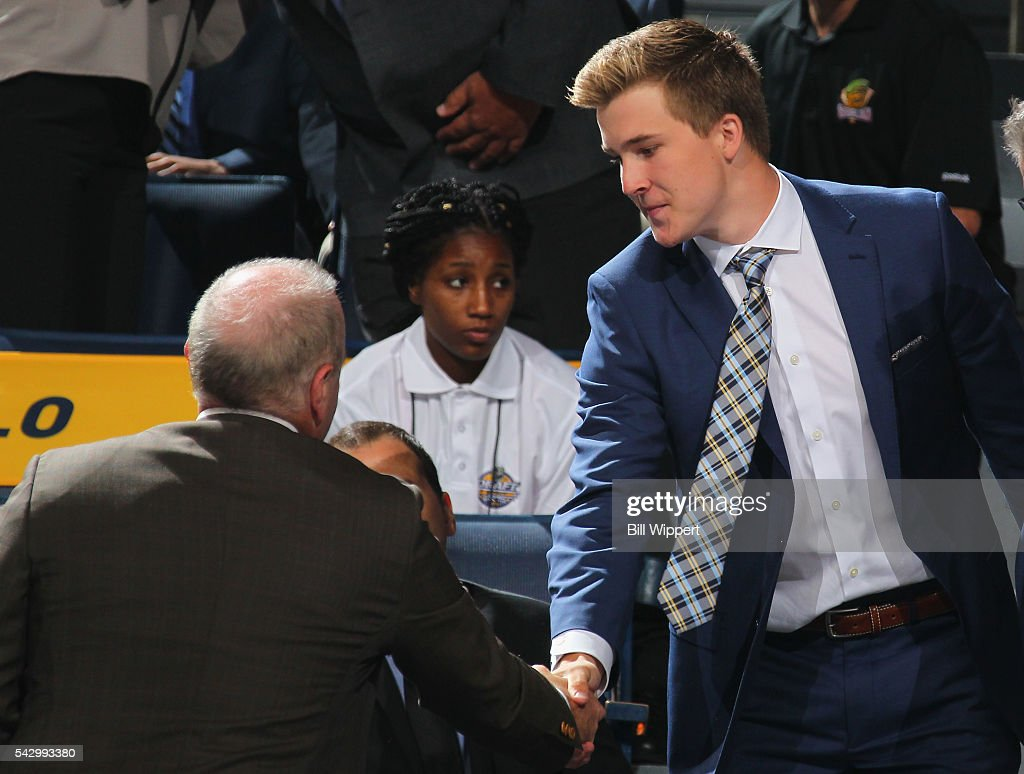 Taylor Raddysh reacts from the seating area after being selected 58th overall by the Tampa Bay Lightning during the 2016 NHL Draft at First Niagara Center on June 25, 2016 in Buffalo, New York.