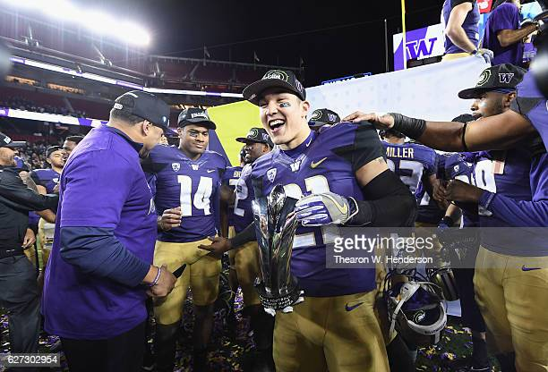 Taylor Rapp of the Washington Huskies celebrates after beating the Colorado Buffaloes in the Pac12 Championship game at Levi's Stadium on December 2...