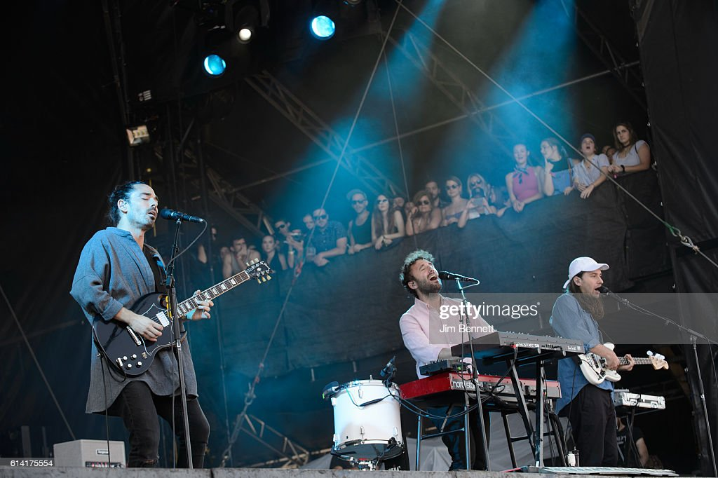 Taylor Rice, Kelcey Ayer and Nik Ewing of Local Natives performs live at Austin City Limits Festival at Zilker Park on October 9, 2016 in Austin, Texas.