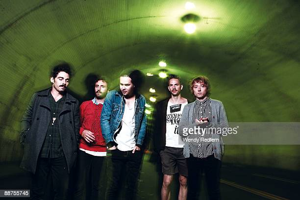 Taylor Rice Kelcey Ayer Ryan Hahn Andy Hamm and Matt Frazier of Local Natives pose for a group shot on May 28 2009 in Los Angeles CA