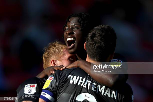 Taylor Richards of Doncaster Rovers celebrates after Charlie Barker of Charlton Athletic scores an own goal during the Sky Bet League One match...