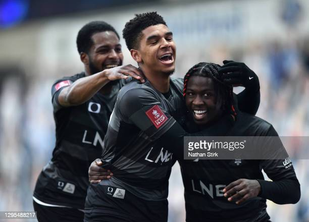 Taylor Richards of Doncaster Rovers celebrates with Tyreece John-Jules after scoring their team's first goal during the FA Cup Third Round match...