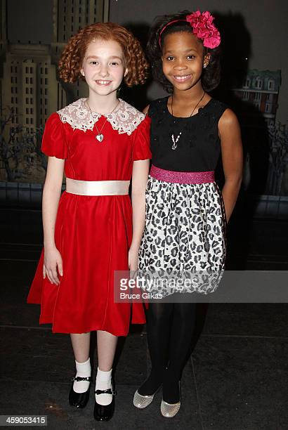 Taylor Richardson as 'Annie' and Quvenzhané Wallis pose backstage at 'Annie' on Broadway at The Palace Theater on December 22 2013 in New York City